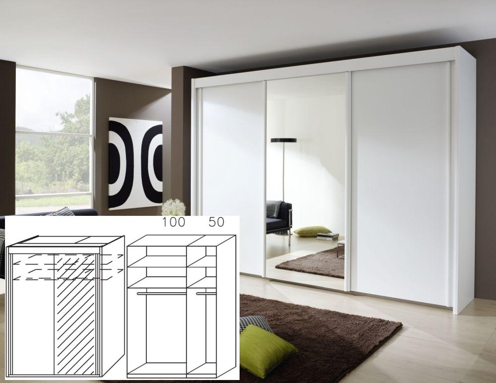 Rauch Imperial Alpine White 2 Door Sliding Wardrobe with 1 Mirror - W 150cm H 223cm (In Stock)