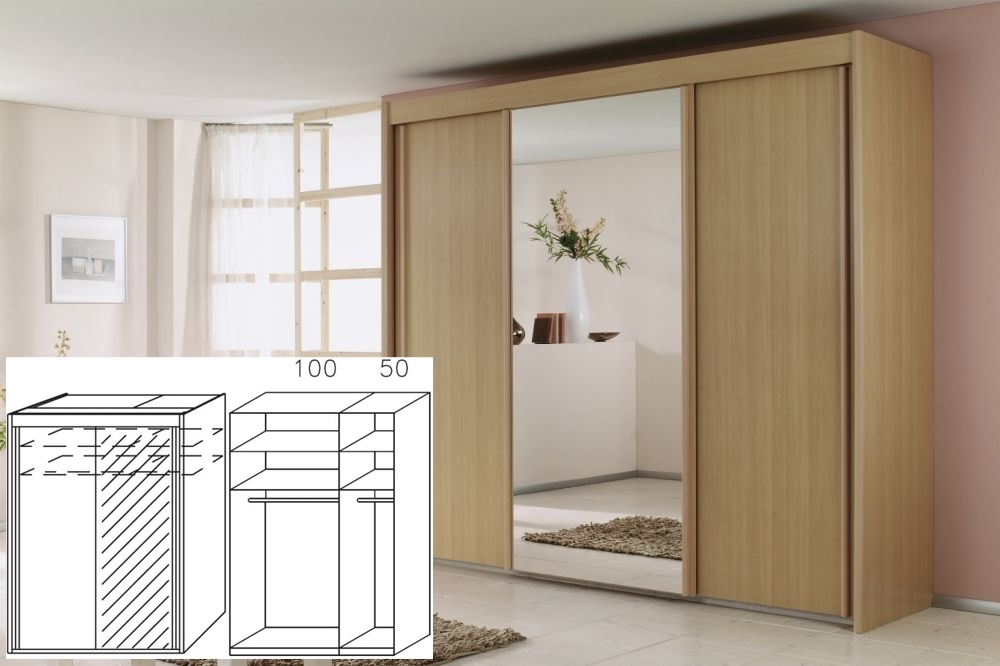 Rauch Imperial Beech 2 Door Sliding Wardrobe with 1 Mirror - W 150cm H 223cm (In Stock)