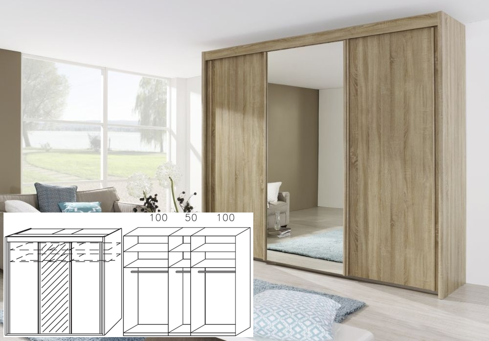 Rauch Imperial Sonoma Oak 3 Door Sliding Wardrobe with 1 Mirror - W 250cm H 223cm (In Stock)