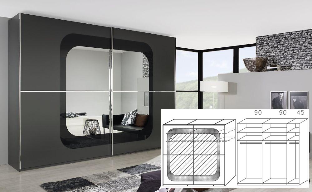 Rauch Lumos Graphite 2 Door Sliding Wardrobe with Framed Mirror and Passepartout - W 226cm H 223cm (