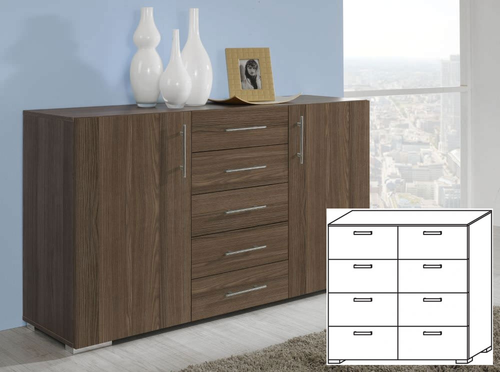Rauch Mavi Base Stirling Oak Carcase and Front 8 Drawer Chest with Chrome Coloured Feet and Rounded