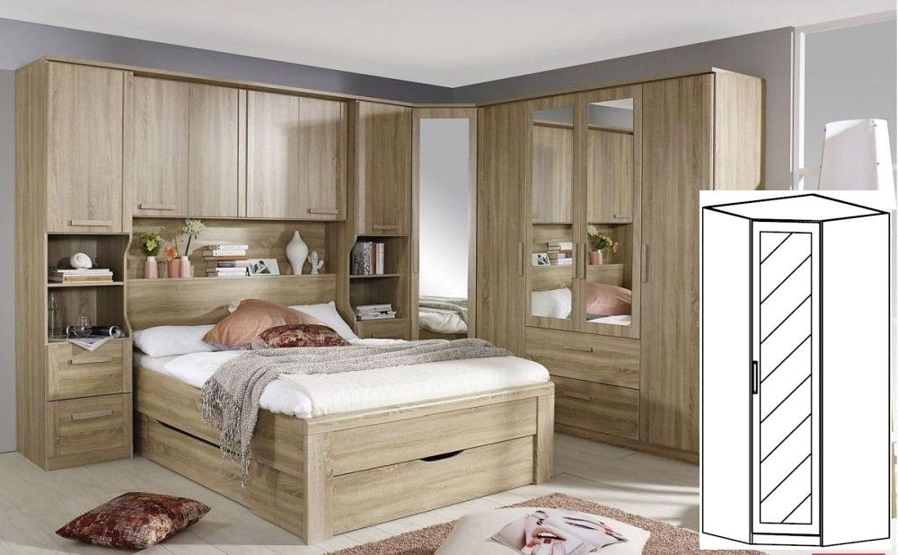 Rauch Rivera Sonoma Oak 1 Door 1 Mirror Corner Wardrobe with Cornice - W 91cm x H 212cm (In Stock)