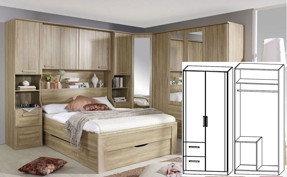 Rauch Rivera Sonoma Oak 2 Door 2 Drawer Left Combi Wardrobe with Cornice - W 91cm x H 212cm (In Stoc