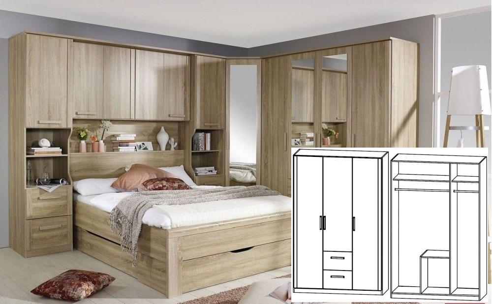 Rauch Rivera Sonoma Oak 3 Door 2 Drawer Combi Wardrobe with Cornice - W 136cm x H 212cm (In Stock)