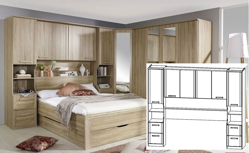 Rauch Rivera Sonoma Oak Overbed Unit with Wall Panel and Book Storage for Bed 140cm x 190cm (In Stoc