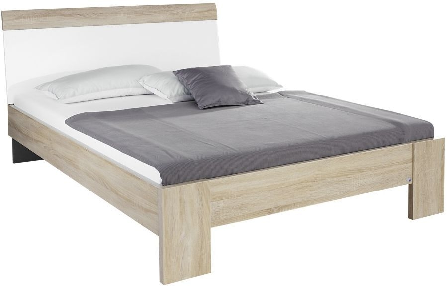 Rauch Samos Sonoma Oak with High Polish White Bed with Slats - W 160cm (In Stock)