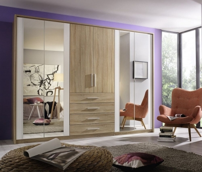 Rauch Wesel 6 Door Combi Wardrobe in Oak and White - W 275cm
