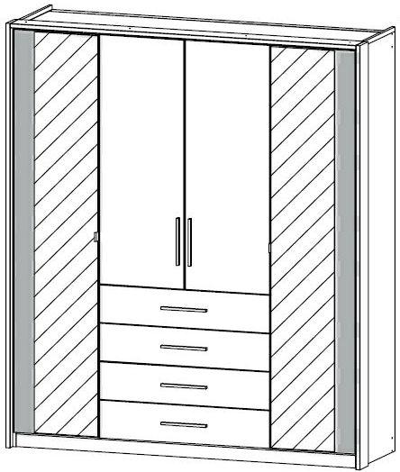 Rauch Wesel 4 Door 2 Mirror 4 Drawer Wardrobe in Sonoma Oak and Alpine White with Lighting Passepartout - W 185cm