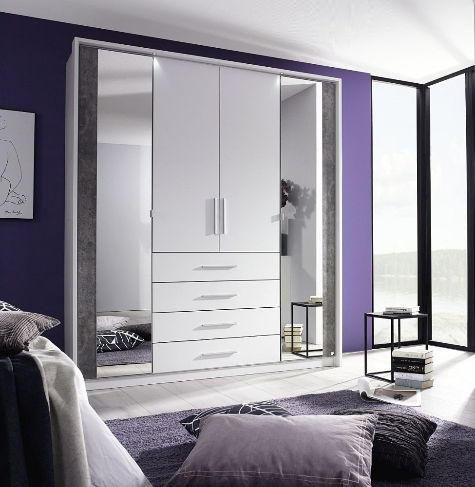 Rauch Wesel 4 Door Combi Wardrobe in White and Stone Grey - W 185cm