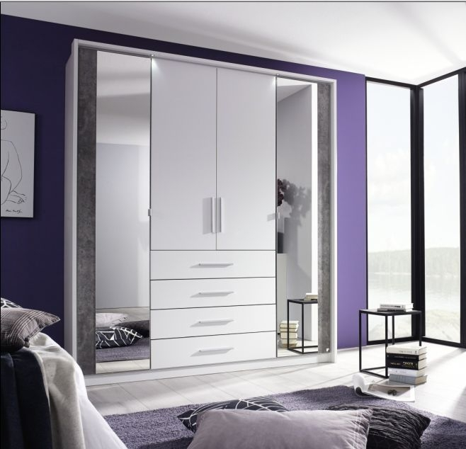 Rauch Wesel Alpine White with Stone Grey 4 Door 4 Drawer Wardrobe with 2 Mirror and Passepartout - W 181cm
