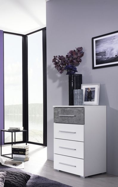 Rauch Wesel 4 Drawer Chest in Alpine White and Stone Grey - W 47cm