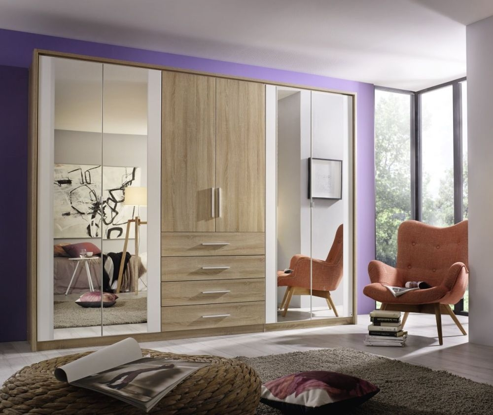 Rauch Wesel Sonoma Oak with Alpine White 5 Door 4 Drawer Wardrobe with 4 Mirror and Passepartout - W 226cm
