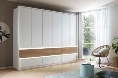 Rauch Winnipeg 6 Door 6 Drawer Combi Wardrobe in Alpine White and Halifax Oak - W 271cm