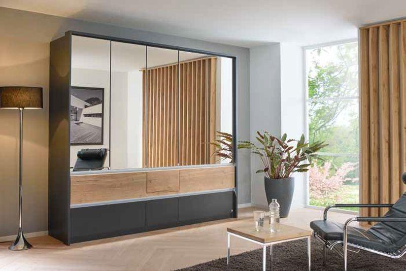 Rauch Winnipeg 5 Mirror Door 6 Drawer Combi Wardrobe in Metallic Grey and Halifax Oak - W 226cm