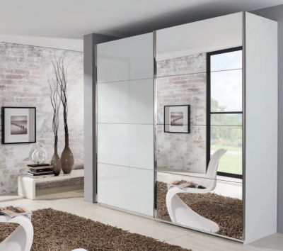 Rauch Xtend 2 Door Mirror Sliding Wardrobe in White - W 226cm