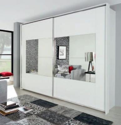 Rauch Xtend 2 Door Mirror Sliding Wardrobe in White - W 271cm
