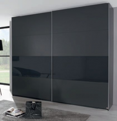 Rauch Xtend 2 Door Sliding Wardrobe in Graphite and Basalt Glass - W 226cm