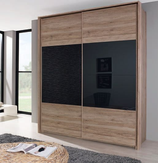 Rauch Xtend 2 Door Sliding Wardrobe in Oak and Basalt Glass - W 181cm
