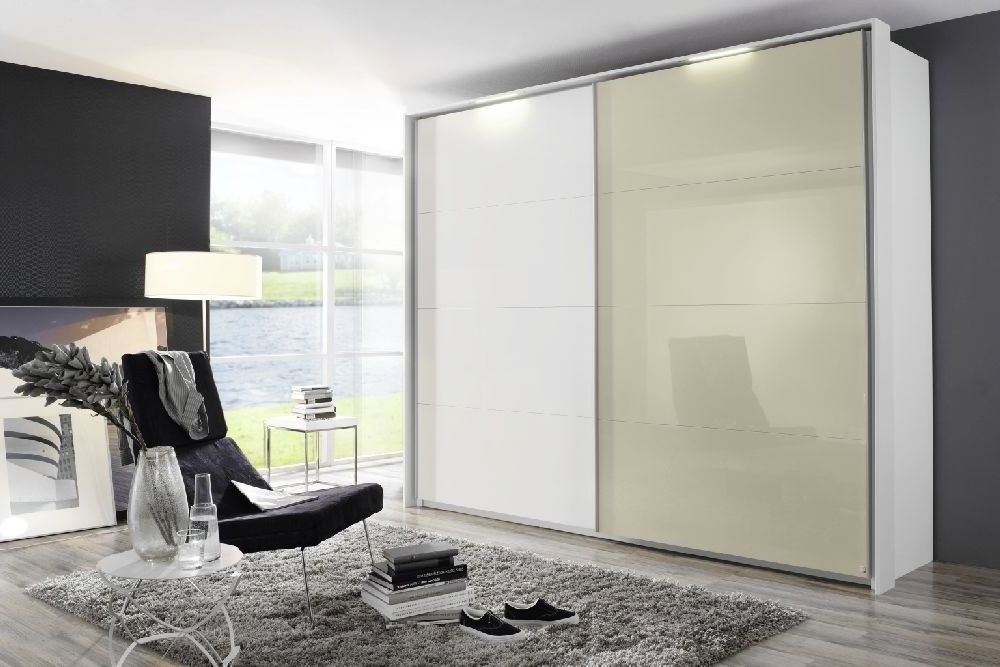Rauch Xtend 2 Door Sliding Wardrobe with Light in White and High Gloss Cappuccino - W 271cm