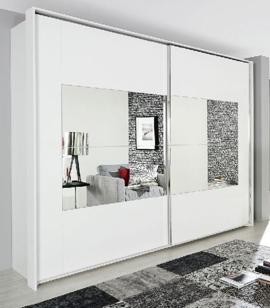 Rauch Xtend Alpine White with Mirror Frame 2 Door Sliding Wardrobe - Aluminium Handle Strip - W 181cm