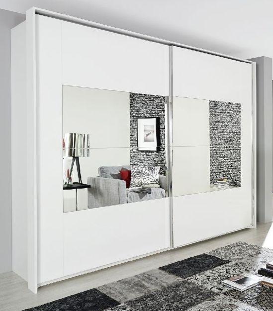 Rauch Xtend Alpine White with Mirror Frame 2 Door Sliding Wardrobe - Aluminium Handle Strip - W 181cm