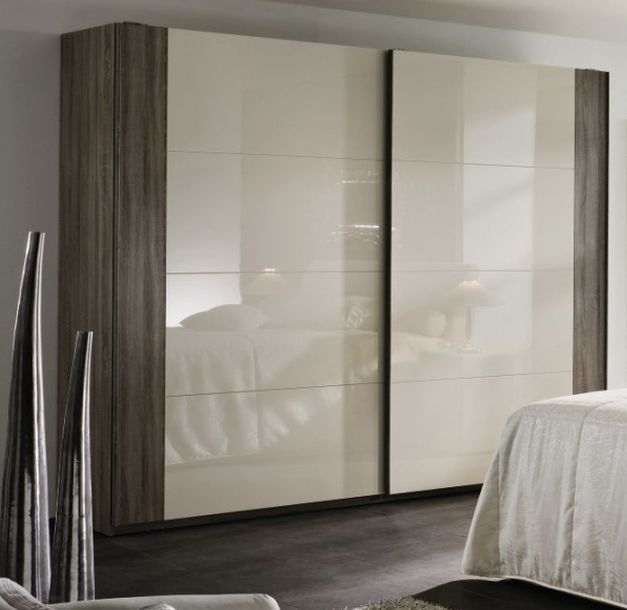 Rauch Xtend 3 Door Sliding Wardrobe in Royal Walnut and High Gloss Cappuccino with Aluminium Handle Strip - W 315cm