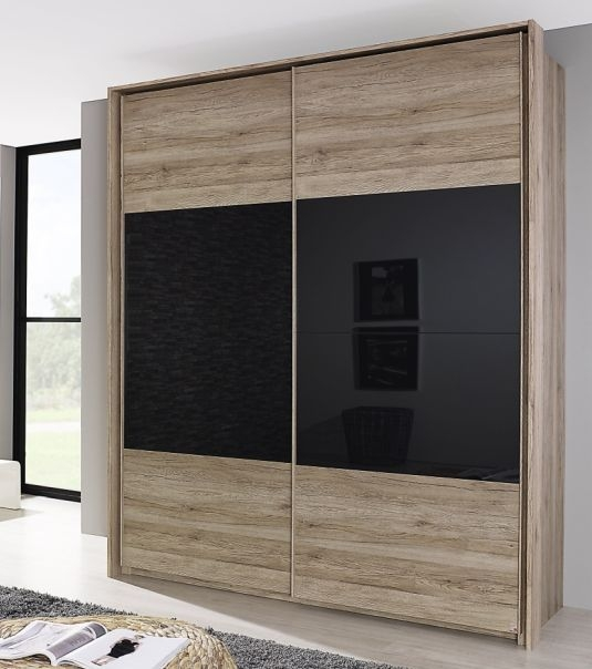 Rauch Xtend Sanremo Light Oak with Basalt Colour Glass Middle Line 2 Door Sliding Wardrobe - Aluminium Handle Strip - W 181cm