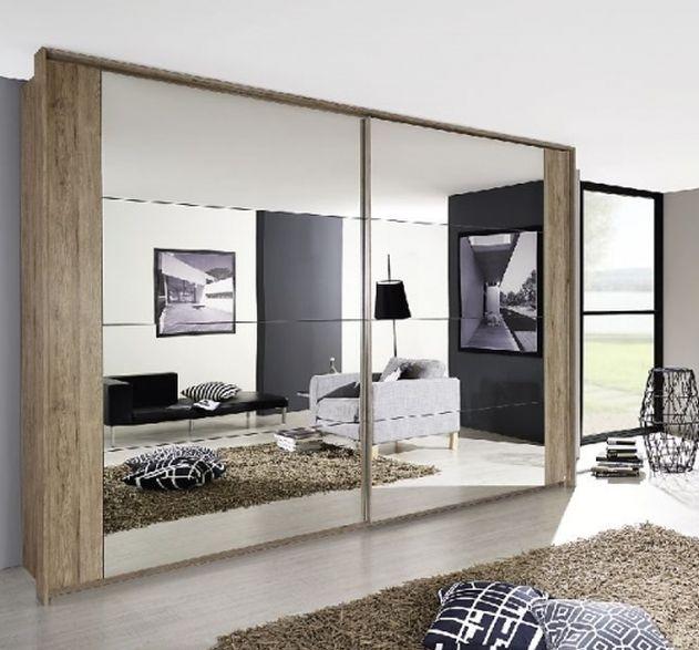 Rauch Xtend Sanremo Light Oak with Mirror Stripe 2 Door Sliding Wardrobe - Chrome Handle Strip - W 181cm