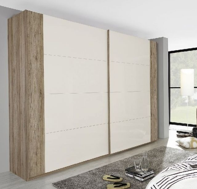 Rauch Xtend 3 Door Sliding Wardrobe in Sanremo Oak Light and High Gloss Cappuccino with Chrome Handle Strip - W 315cm