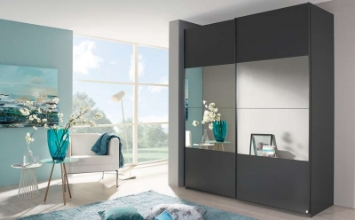 Rauch Zenaya 2 Door Mirror Sliding Wardrobe in Graphite - W 181cm