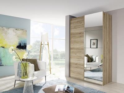 Rauch Zenaya 2 Door Mirror Sliding Wardrobe in Oak - W 137cm