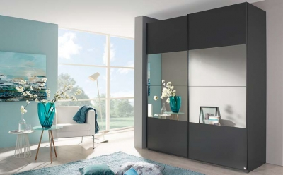 Rauch Zenaya Sliding Wardrobe with Wood Decor Front