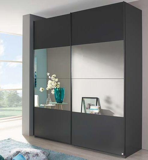 Rauch Zenaya 2 Door 1 Mirror Sliding Wardrobe in Graphite - W 181cm
