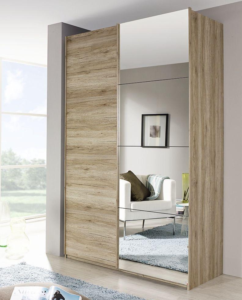 Rauch Zenaya 2 Door 1 Mirror Sliding Wardrobe in Sanremo Oak Light - W 226cm