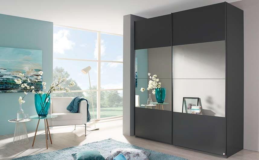 Rauch Zenaya 2 Door Mirror Sliding Wardrobe in Graphite - W 181cm