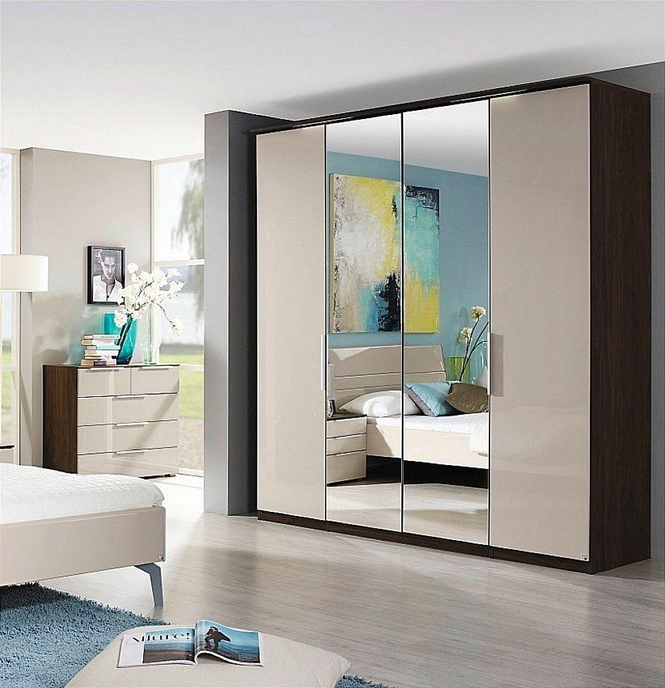 Rauch Zenaya 4 Door Mirror Wardrobe in Royal Walnut and High Gloss Cappuccino - W 201cm
