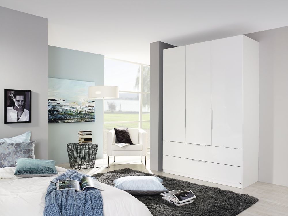 Rauch Zenaya Alpine White 4 Door 4 Mirror 4 Drawer Combi Wardrobe with Front Coloured Drawer