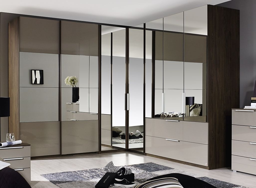Rauch Zenaya 2 Mirror Door Corner Wardrobe in Royal Walnut