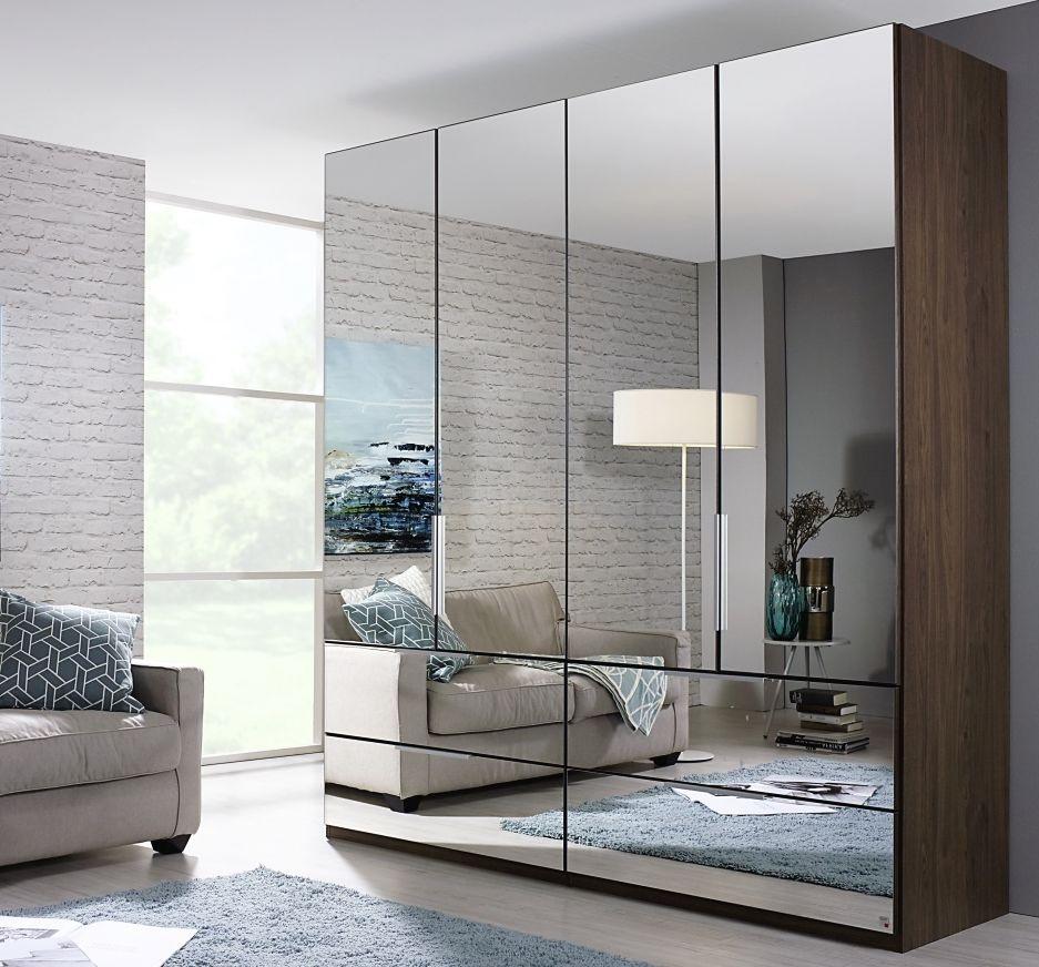 Rauch Zenaya Royal Walnut 4 Door 4 Drawer Wardrobe with Full Mirror Front - W 201cm