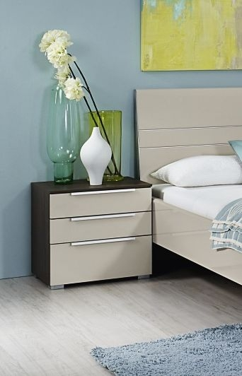 Rauch Zenaya 3 Drawer Bedside Cabinet in Royal Walnut with High Gloss Cappuccino