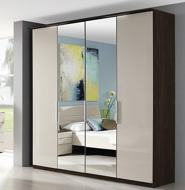 Rauch Zenaya 4 Door 2 Mirror Wardrobe in Royal Walnut and High Gloss Cappuccino - W 201cm