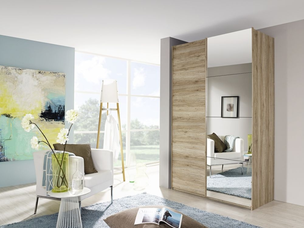 Rauch Zenaya Sanremo Oak 2 Door 2 Mirror 2 Drawer Combi Wardrobe with Front Coloured Drawer
