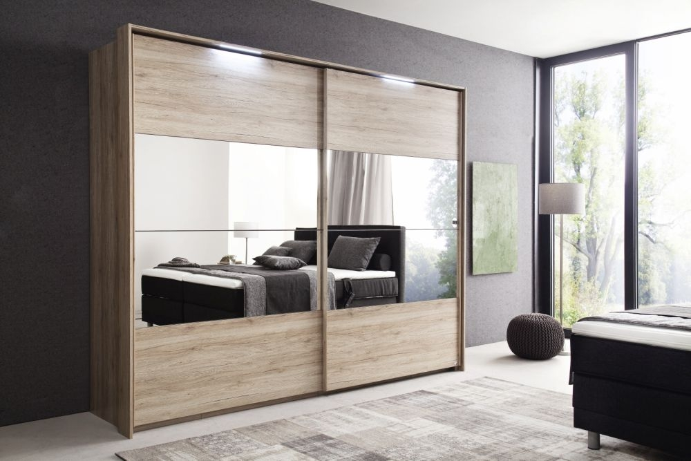 Rauch Zenaya Sanremo Oak 2 Door Sliding Wardrobe with Full Mirror Front - W 226cm