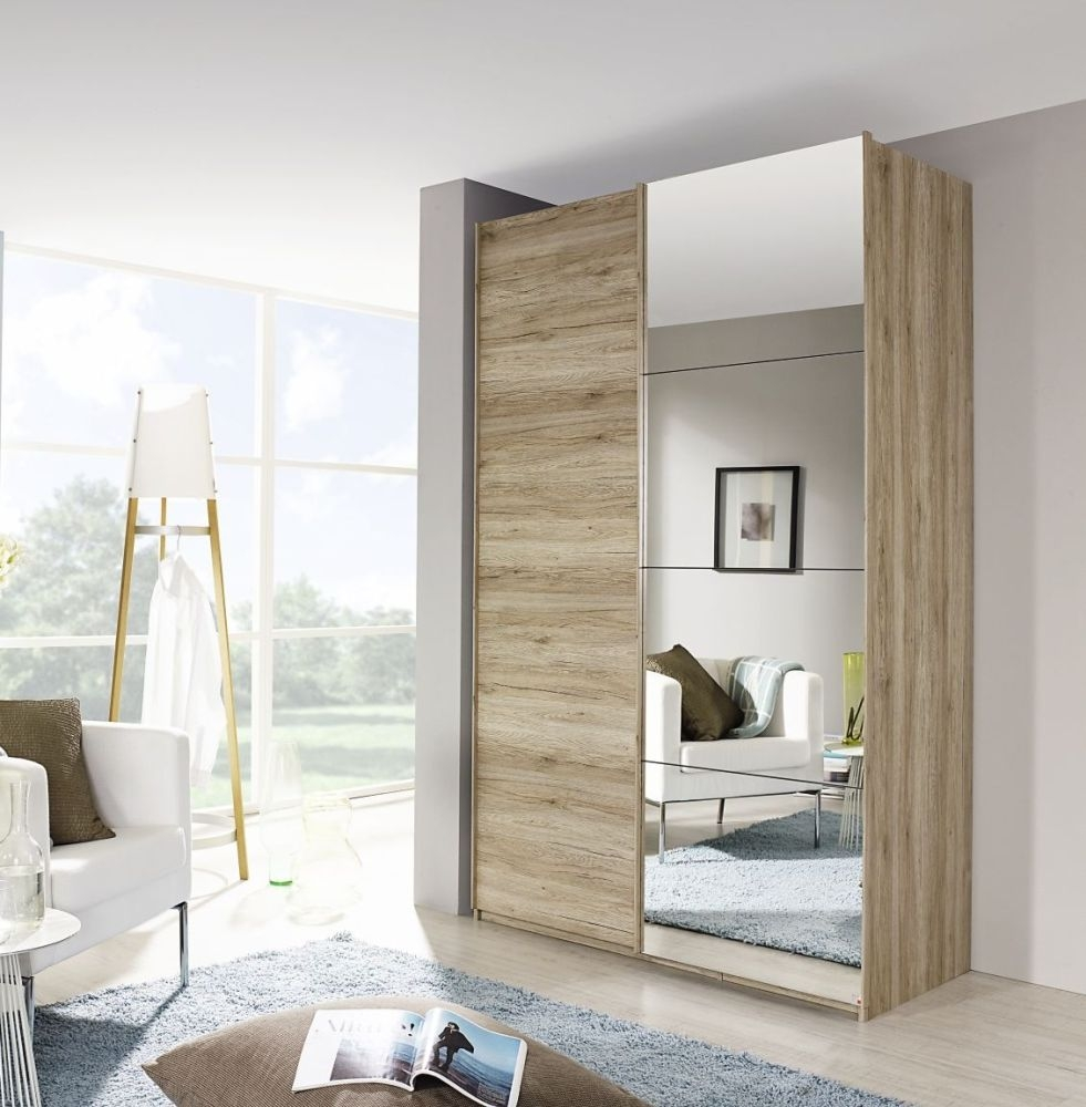Rauch Zenaya Sanremo Oak 3 Mirror Door 2 Drawer Wardrobe - W 151cm