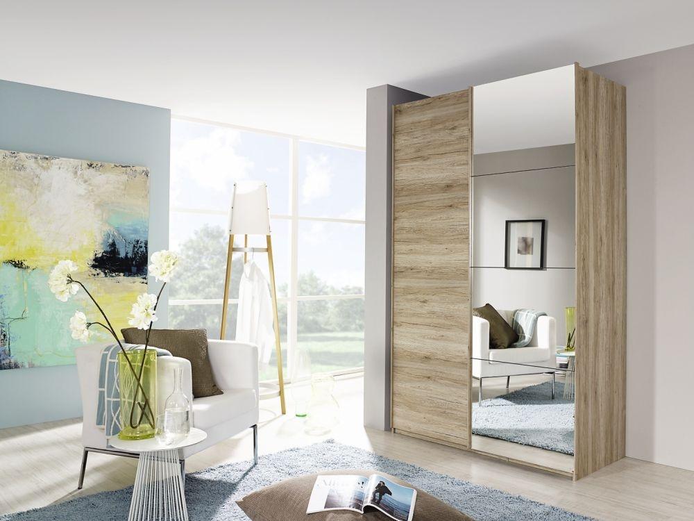 Rauch Zenaya Sanremo Oak 4 Door 4 Mirror 4 Drawer Combi Wardrobe with Front Coloured Drawer
