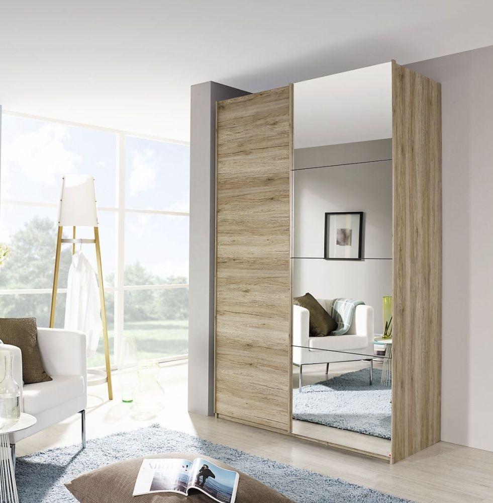 Rauch Zenaya 5 Mirror Door 6 Drawer Combi Wardrobe in Sanremo Oak Light - W 201cm