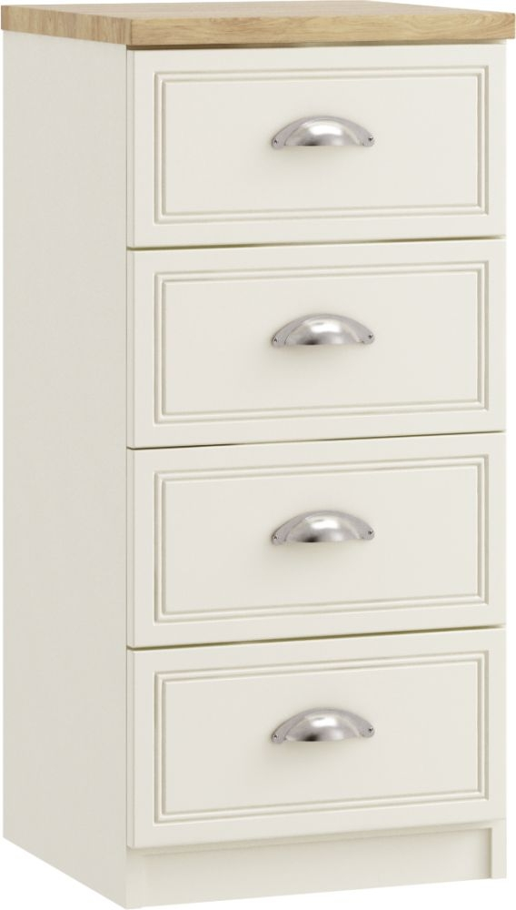 Charlotte 4 Drawer Narrow Chest - Ready Assembled