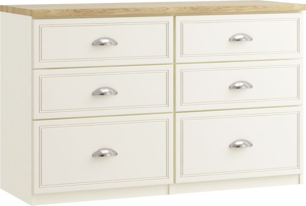 Charlotte 6 Drawer Twin Chest - Ready Assembled