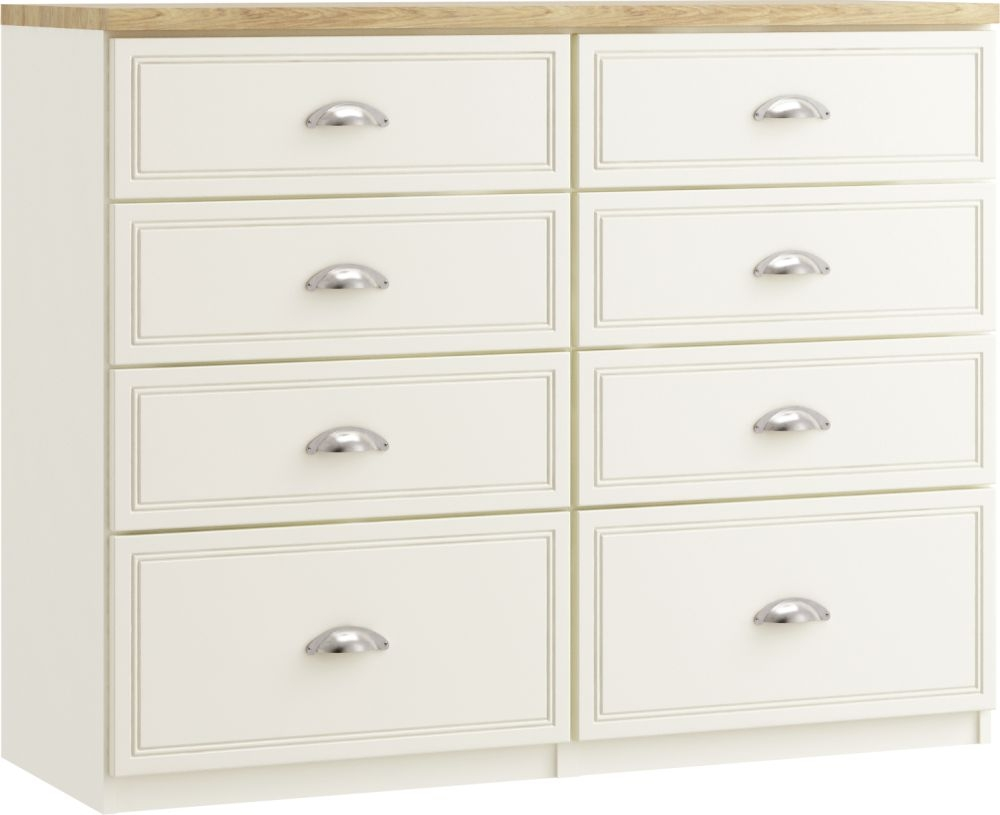 Charlotte 8 Drawer Twin Chest - Ready Assembled