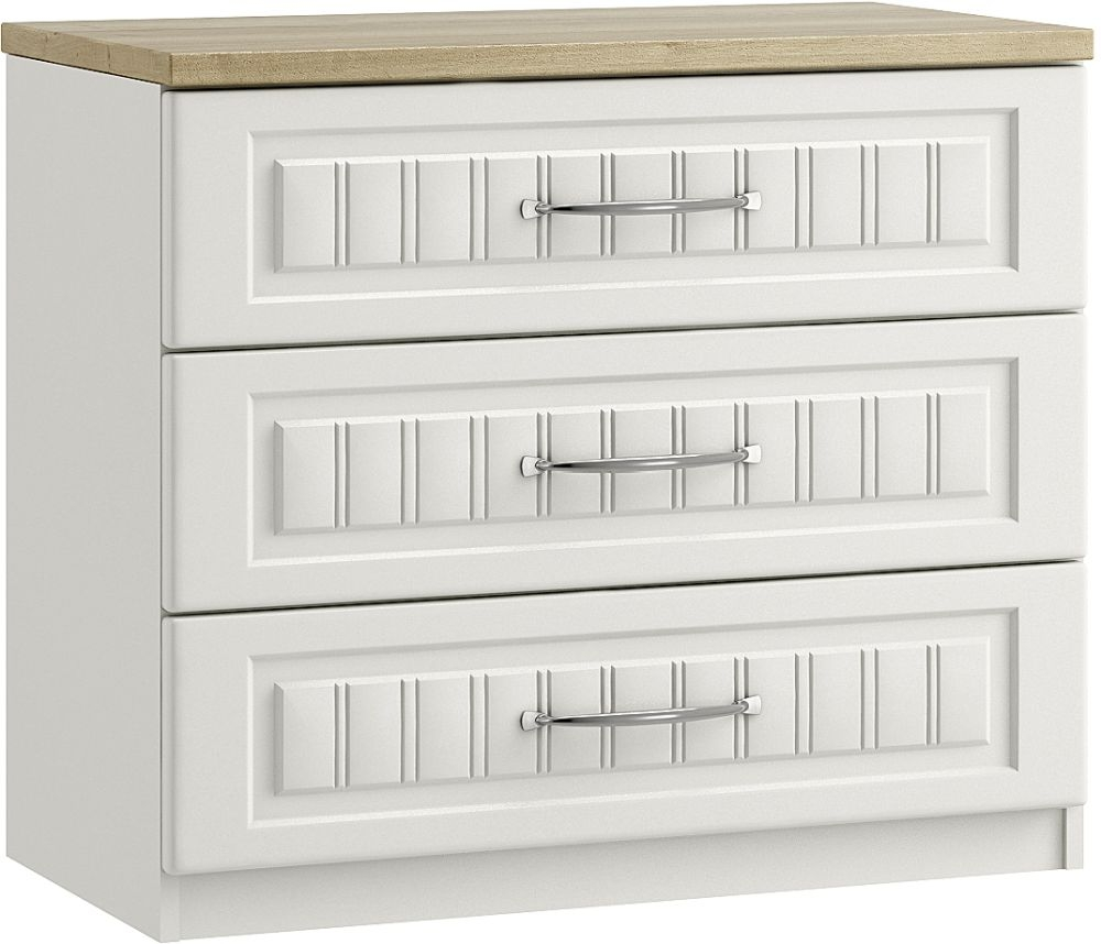 Dakota White 3 Drawer Chest - Ready Assembled